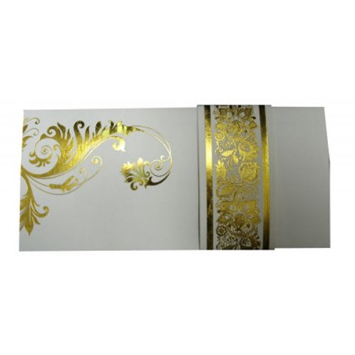 White With Gold Foil Wedding Card ABC616
