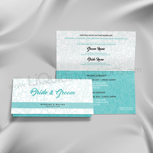 Mint Green & White contrasting Asian Invitation Card QTF19