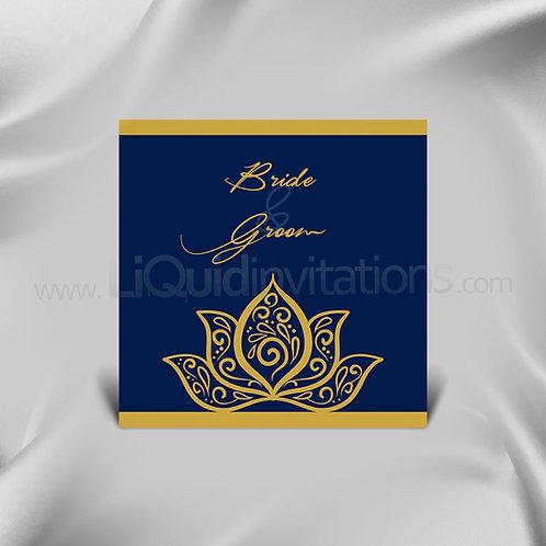 Gradient Blue Shaadi Wedding Card - Black & Gold QSQ06
