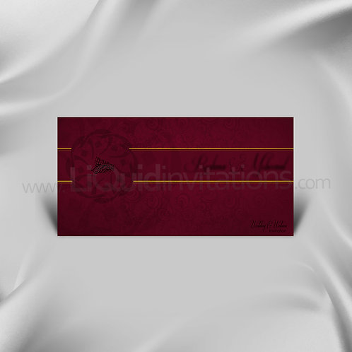 Maroon & Yellow Muslim Wedding Invitation Card QDL02