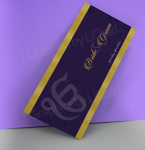 Purple U0026 Gold Double Sided Wedding Invitation Card