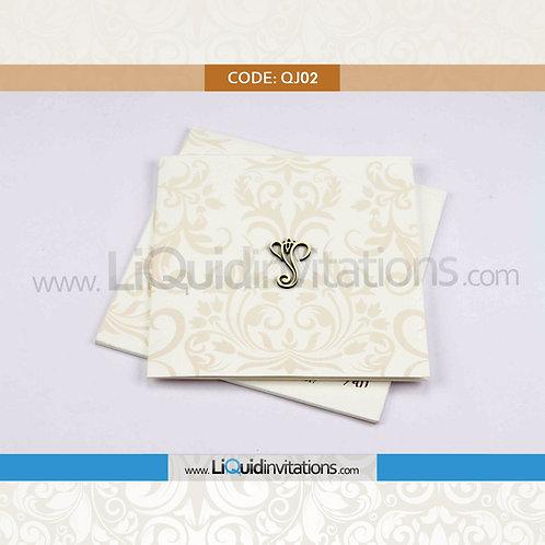 Cream & Off White Wedding Invitation Card QJI02
