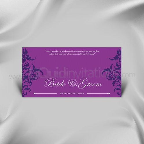 Purple & White Damask Invitation Card QDL26
