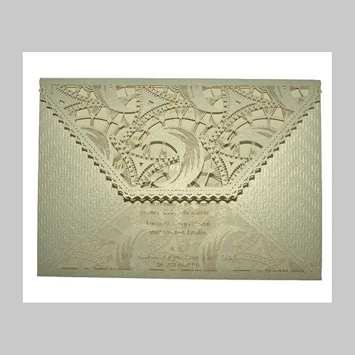 Extravagant Pocket Folded Laser Cut Wedding Card BS12009