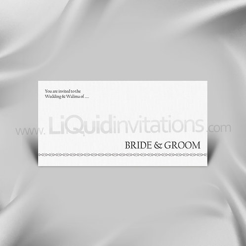 White & Charcoal Wedding Card QDL15