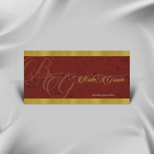 Red & Gold Flower Wedding Card QDL25