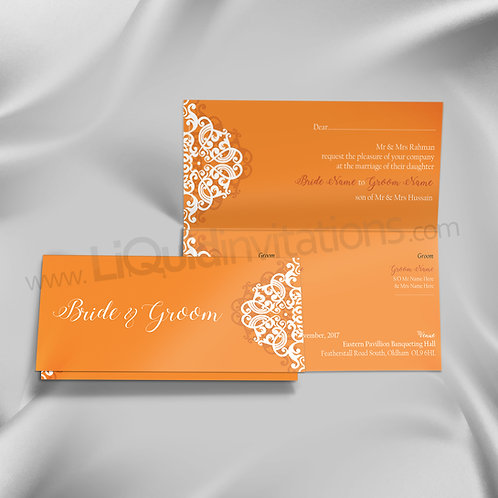 Orange Ornamental wedding Invitation QTF24