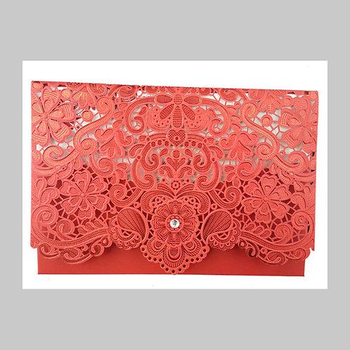 Red Pocket Ornamental Laser Cut Invitation LC6017 (Red)