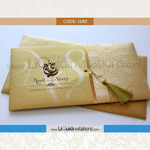 Gold shimmer Wedding Invitation Card QJI01