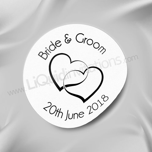 Bride& Groom Love Heart Sticker 01