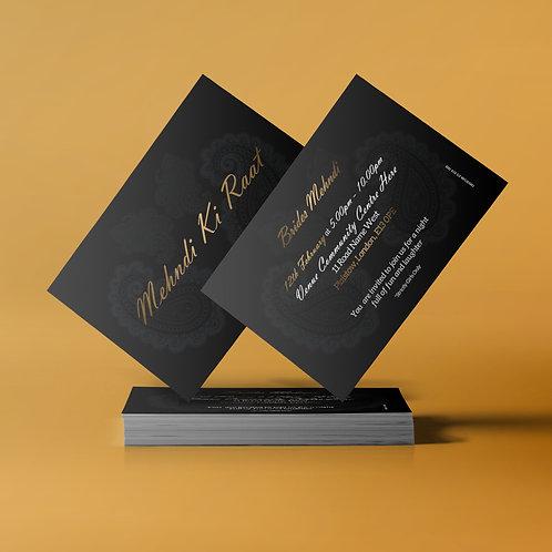 Black & Gold A7 Mehndi Invitation Card QDM08
