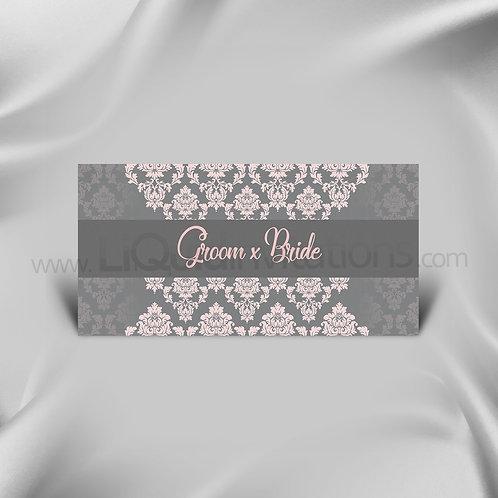 Grey & Pink DL Wedding Invitation Card QDL43