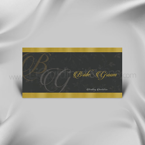 Chacrcoal Grey Themed Wedding Card QDL38