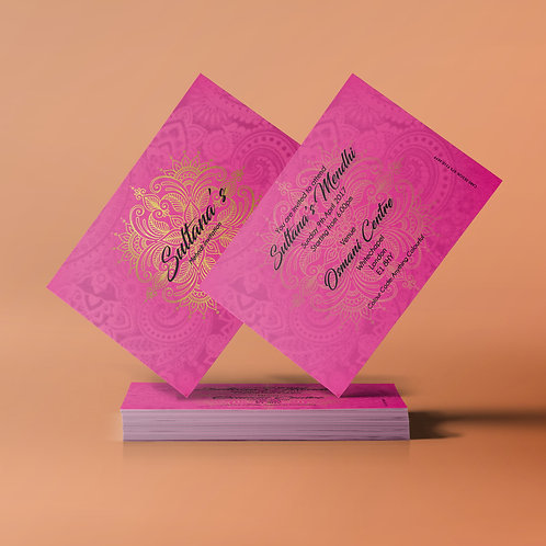 SAMPLE - Pink, Gold & Black A7 Mehndi Invitation Card QDM04