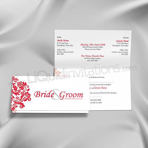 White Floral Folded Wedding Card QTF16