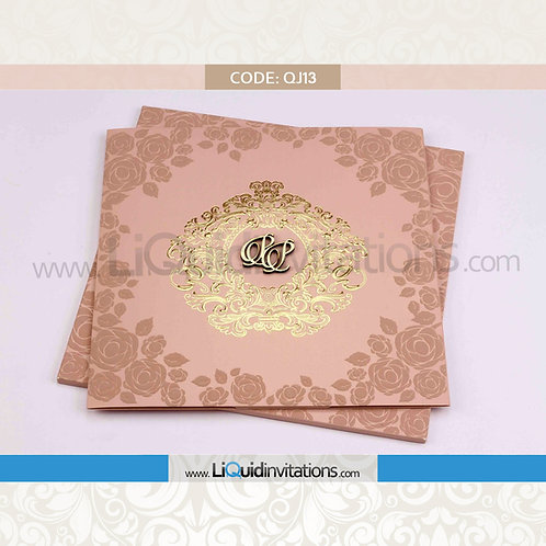 Peach Wedding Invitation Card QJI13