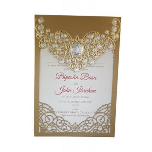 Gold Lasercut Wedding Invitation LC6076