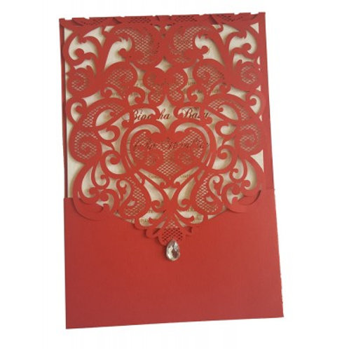 Red Pocket Gem Lasercut Wedding Invitation LC1080