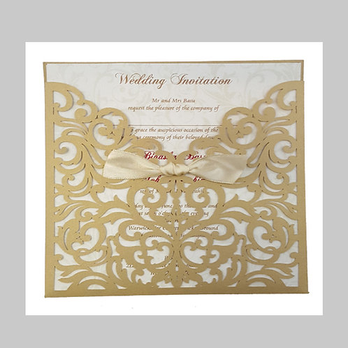 Gold Pocket With Antique Ribbon Laser Cut Invitation  LC1035