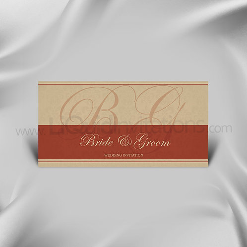 Cream & Red Asian Style Invitation Card QDL20