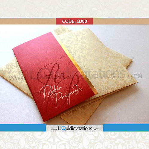 Red & Cream Wedding Invitation Card QJI03