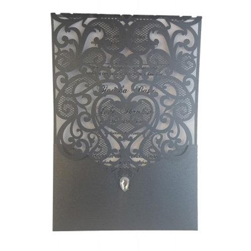 Black Pocket Gem Lasercut Wedding Invitation LC1080