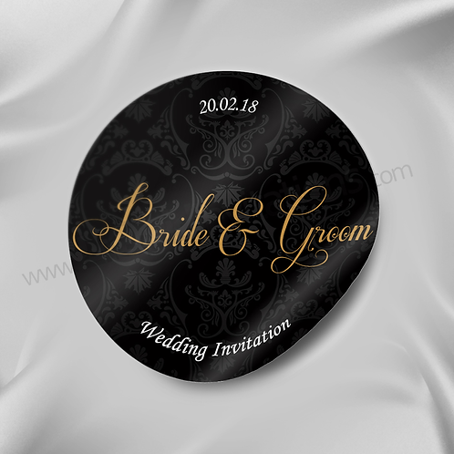Unique Black and Bronze Personalised Wedding Sticker 11