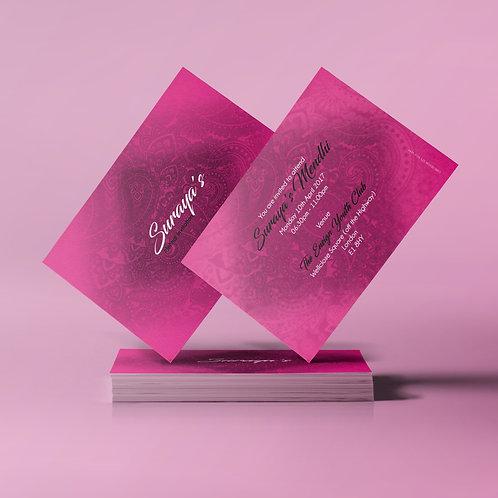 Pink & Black A7 Mehndi Invitation Card QDM09