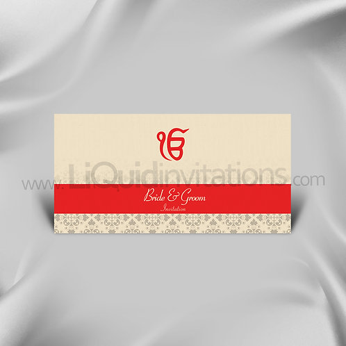 Red Sikh Wedding Invitation Card QDL47