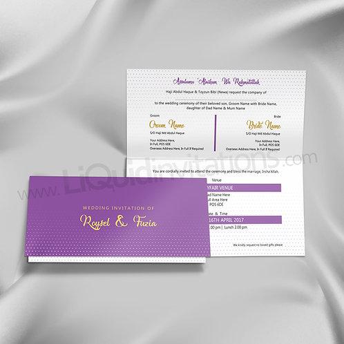 Purple Polka Dots Folded Wedding Invitation QTF20