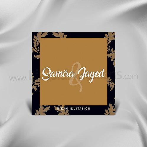 Floral Personalised wedding card  - Black, Bronze QSQ14