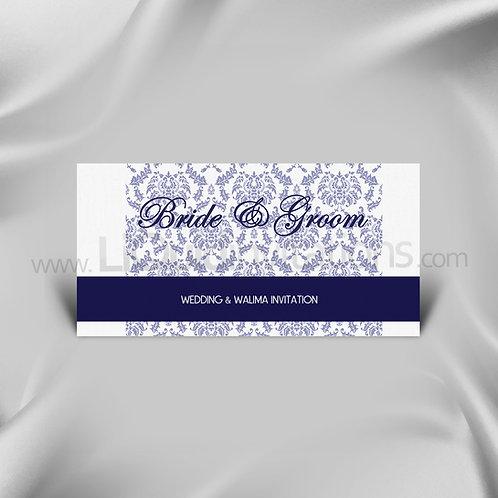 Damask Print Navy Wedding Card QDL41