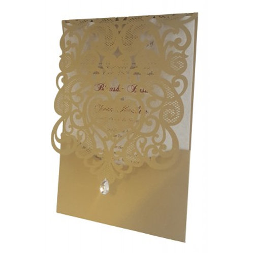 Gold Pocket Gem Lasercut Wedding Invitation LC1080