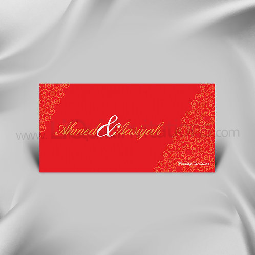 Saphire Red & Gold Indian Wedding Card QDL18