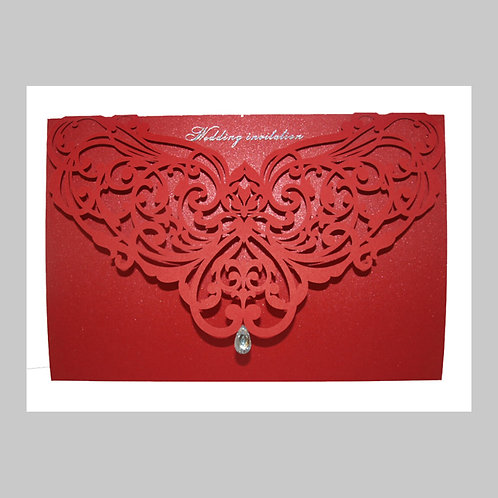 Scarlet Red Laser Cut Invitation With Diamante Jewel CW3108