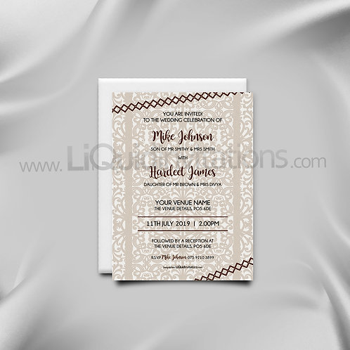 Personalised invitation all faith brown QAF05