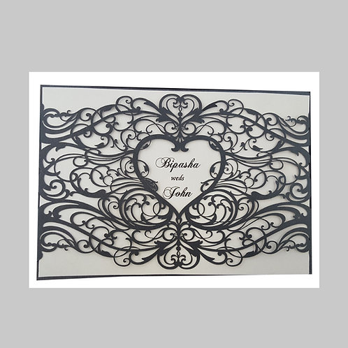 Black Charming Heart Laser Cut Invitation LC1031
