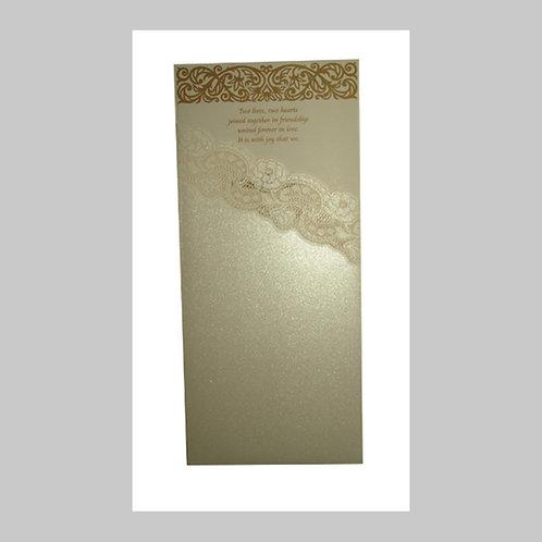 White Iridescent Portrait Pocket Folded Wedding Card PK810