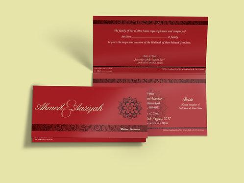 Red Folded DL Wedding Invitation Card QTF11