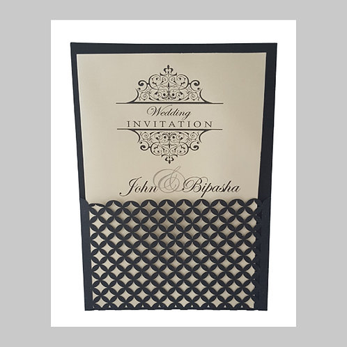 Pocket Folded Laser Cut With Double Sided White Intricate Party Card BS12020