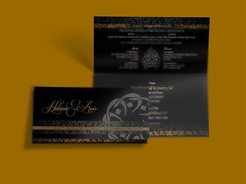 Black & Gold Folded DL Wedding Invitation Card QTF03