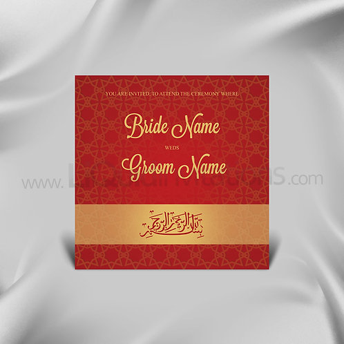 Muslim Nikah wedding Invite  - Red & Gold QSQ03