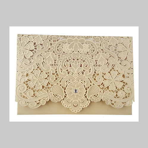 Gold Mesh Pocket Fold with Diamond Laser Cut Invitation LC6017 (Gold)