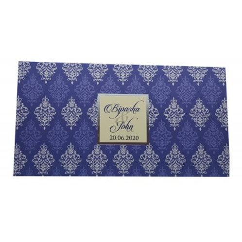 Blue Tent Fold Damask Wedding Card ABC753