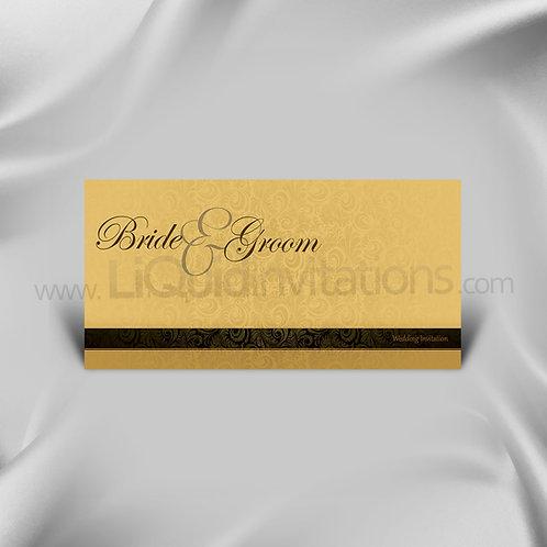 Cream & Brown Floral wedding invitation QDL39