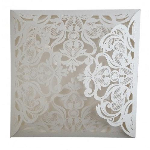 Ivory Lasercut Four Way Fold Wedding Invitation LCF001