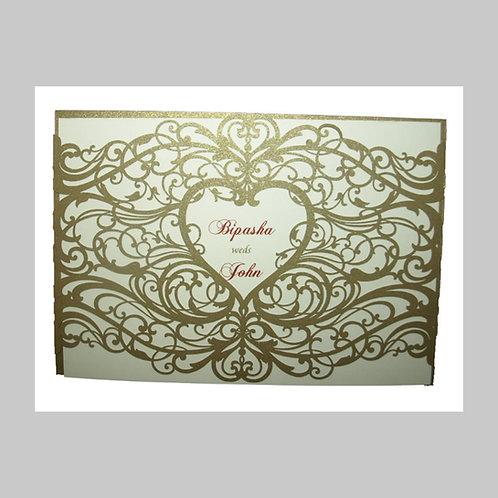 Gold Heart Laser Cut Wedding Invite CW5108