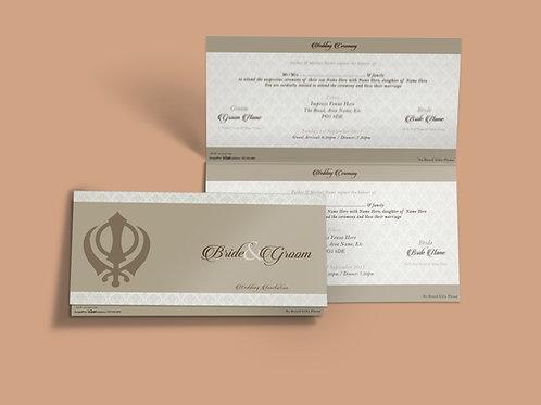 White & Beige Folded DL Wedding Invitation Card QTF05