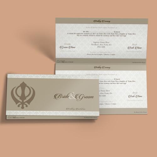 Folded wedding cards liquid invitations white beige folded dl wedding invitation card qtf05 stopboris Images