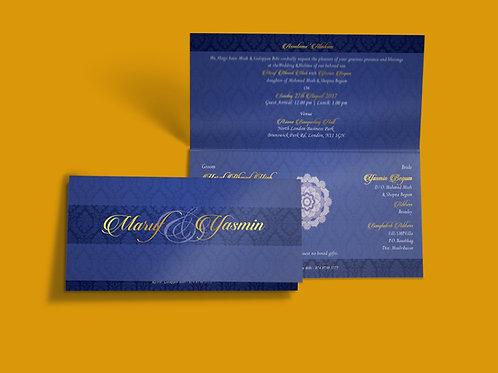Blue & Gold Folded DL Wedding Invitation Card QTF04